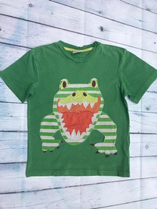 Mini Boden green applique frog tshirt age 7-8